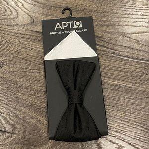 💙 NEW Apt 9 Black Bow Tie & White Pocket Square